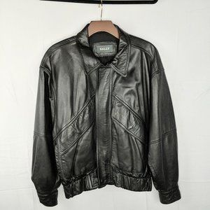 Vintage 90s Bally Black Zipper Leather Jacket